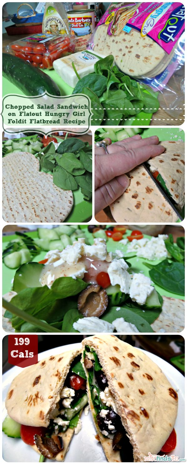 My Chopped Salad To-Go on Flat Out Hungry Girl Foldit Flatbread Sandwich Recipe 199 calories!