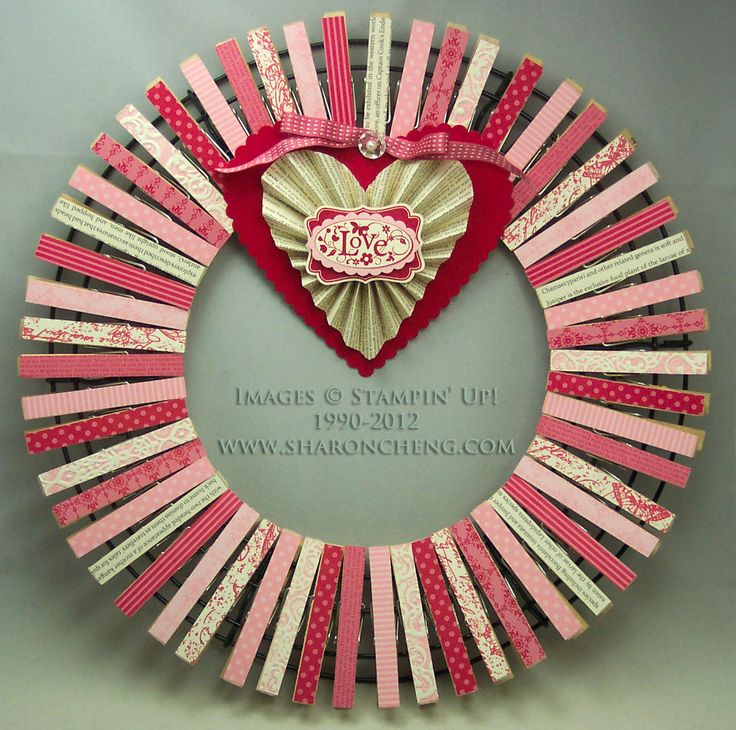 SHARING CREATIVITY and COMPANY: Clothespin Wreath: Valentine's Day Version