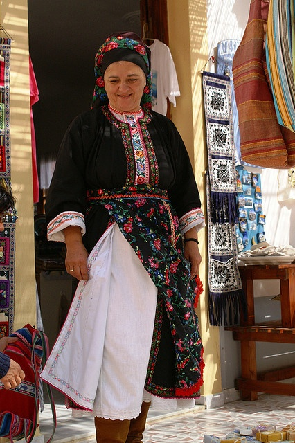 traditional costume in Olympos, Karpathos island, Greece
