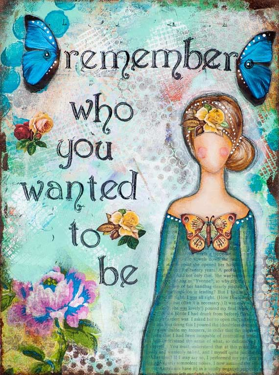 Whimsical Art, Remember Who You Are, Inspirational Print, Blue Green, Mixed Media Art, Positive Affirmation, Butterfly, Giclée Print 12 x 16