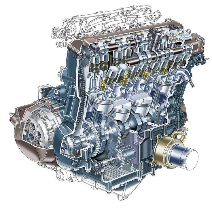 Kawasaki ZX12R engine cutaway