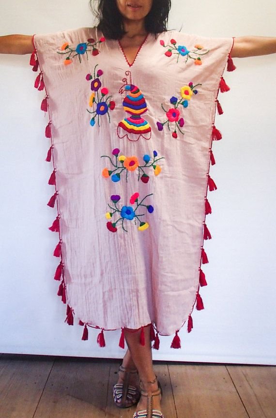 Salmon Colored Hand Embroidered Woman's Festival Long Kaftan/ Poncho/ Maxi Dress with Fringe. Very Light and Comfortable