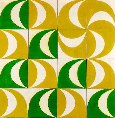 midcentury ceramic tiles (from a dismantled mosaic in Europe) by Maria Keil