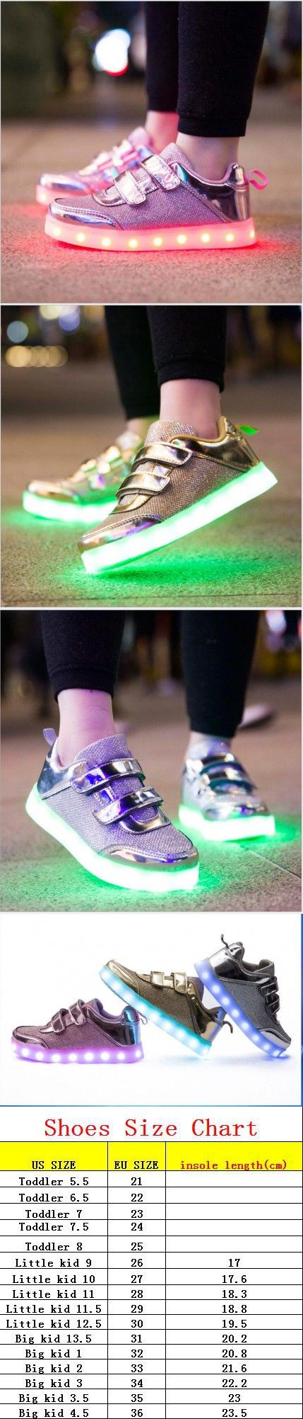 8 Color Kids Sneakers Fashion Charging Luminous Lighted Colorful LED lights…