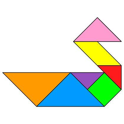 The solution for the Tangram puzzle #73 : Duck