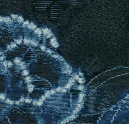 Shibori Furisode. Late 20th century, Japan.  The Kimono Gallery. A large silk furisode featuring peony, wisteria and hydrangea motifs created utilizing a combination of weaving and shibori (tie-dye).