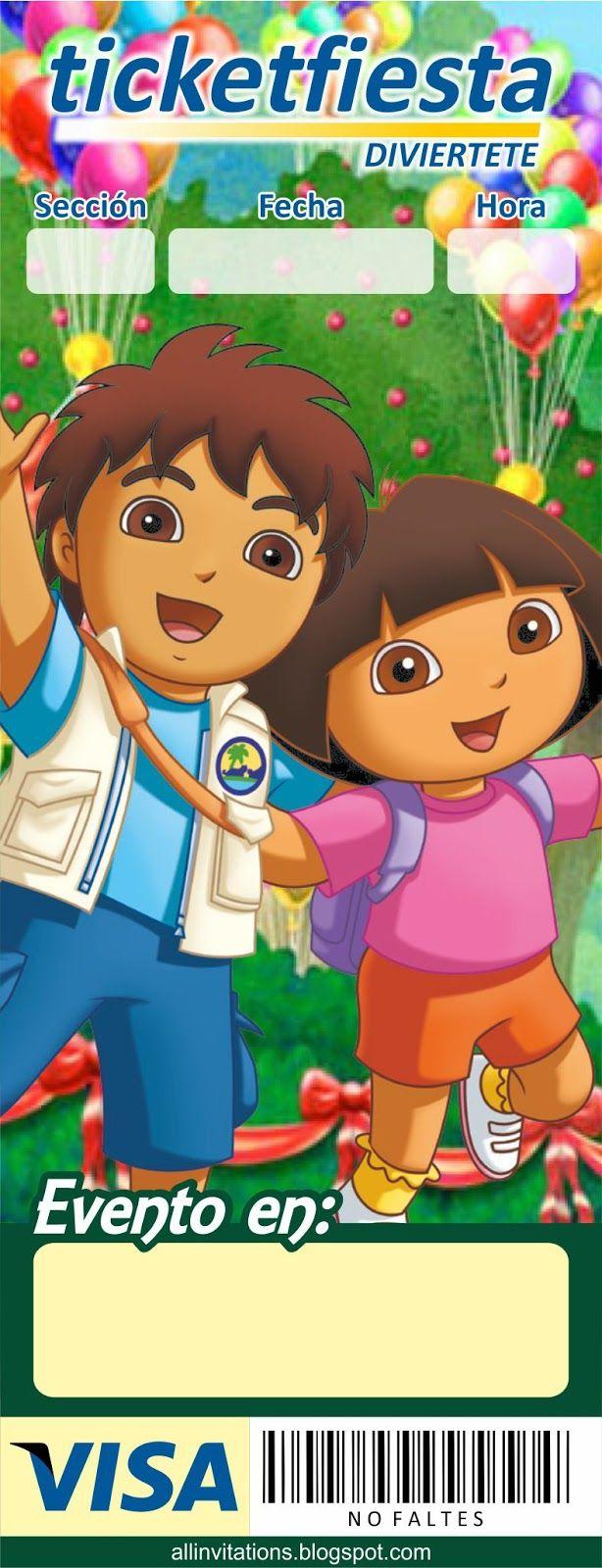 Plantilla Invitación Ticketmaster Diego y Dora