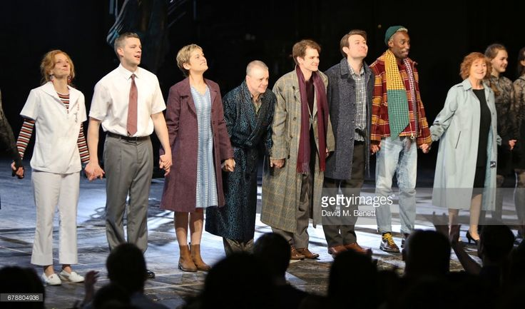 Amanda Lawrence, Russell Tovey, Denise Gough, Nathan Lane, Andrew Garfield, James McArdle, Nathan Stewart-Jarrett and Susan Brown attend the press night performance of 'Angels In America' at The National Theatre on May 4, 2017 in London, England.