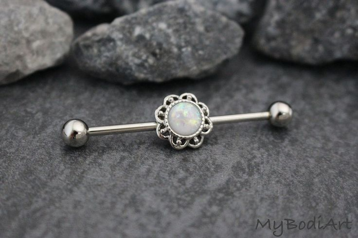 Cute Opal Industrial Piercing Jewelry Barbells as seen on Kylie Jenner exclusively at MyBodiArt