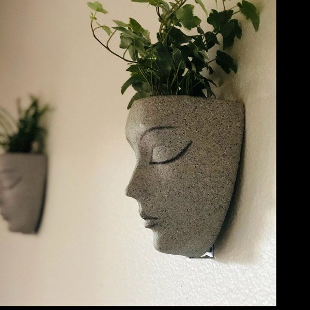 Planter Head Planter Planters Wall Decor Vertical Garden Wall Pots For Plants Wall Art Wall Planter Birthday Gift Hanging Pot Face In 2020 Face Planters Head Planters Wall Planter