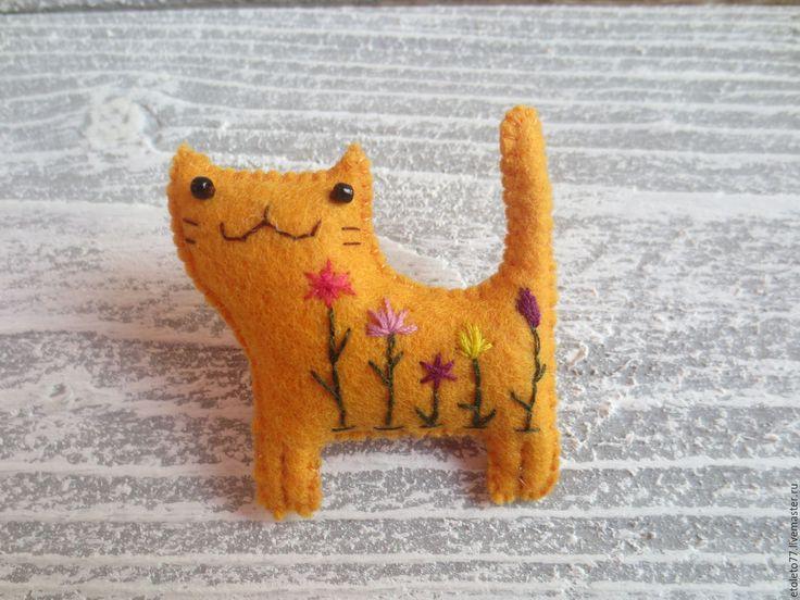 Купить Брошь Рыжий кот - оранжевый, рыжий, рыжий кот, брошь ручной работы