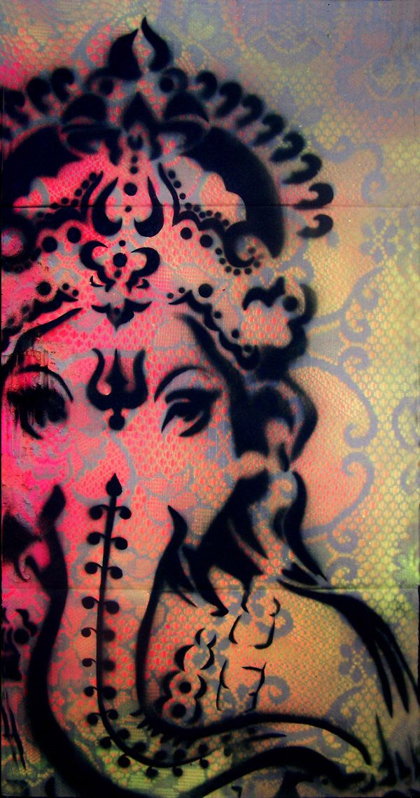 Ganesh - remover of obstacles.I like the spray painted ...