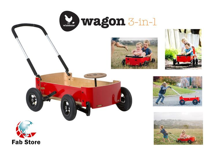 Wishbone Wagon is much more than a wagon.  Gorgeous, rugged, transformable. It's a wagon.  It's a gravity racer.  It's a foot-to-floor car.  Let your child choose. Shop at Fab Store outlet in Spinneys The Pearl - Madinat Centrale or www.fab-store.com