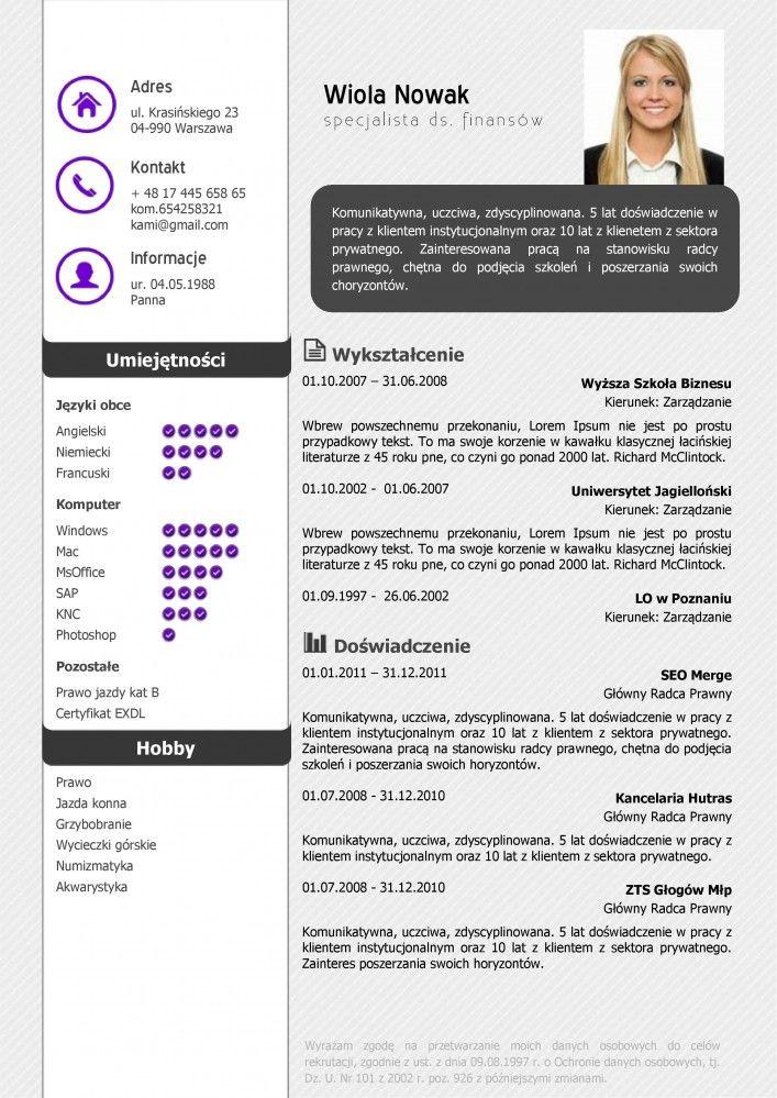 Szablon CV (curriculum vitae) i List Motywacyjny #S6 w wersji Standard