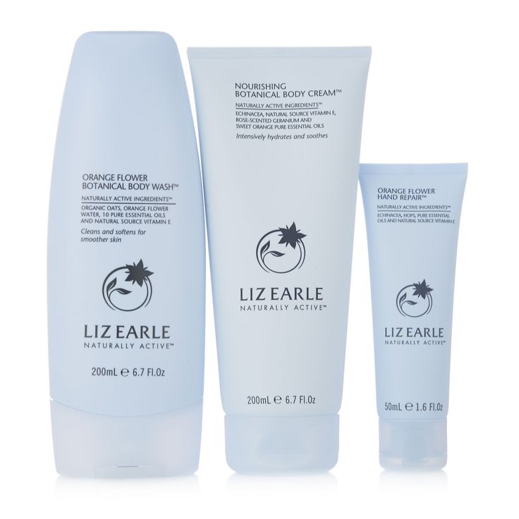 233382 - Liz Earle 3 Piece Soft Skin Body Collection  QVC PRICE: £28.00 + P&P: 30.00  This three-piece Soft Skin Body Collection by Liz Earle includes Nourishing Botanical Body Cream, Orange Flower Body Wash and Hand Repair, all designed to hydrate and revitalise your skin. Gorgeously-scented gentle formulas that are perfect for a little everyday luxury.