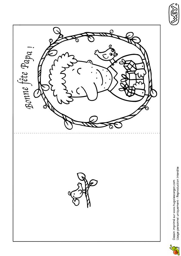 Une jolie carte à colorier pour la Fête des Pères.