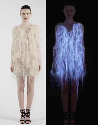 A Chinese fashion designer has used complex sensory technology to create a dress that moves, changes shape and even lights up when it is looked at. Montreal-based designer Ying Gao installed her high-fashion creations with eye-tracking technology so that they activate when they sense someone's gaze.
