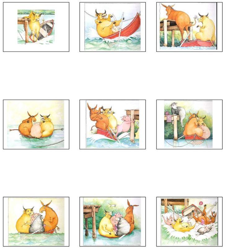 between 5 - 6 years of age, your child should be able to put together a 5-6 part story and retell it, using pictures! Use these pictures from the 'who sank the boat' story, to encourage your child to order and retell the story!
