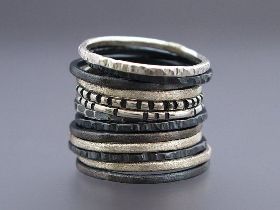 Skinny Stacking Ring Set in Sterling Silver, pick any three, by LichenAndLychee