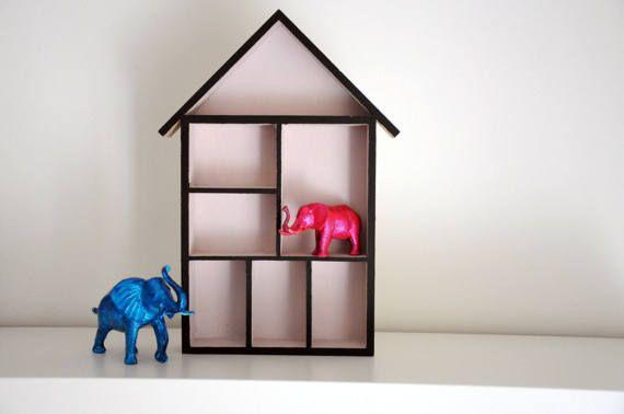 Wall shelf with house shape / Home Wall Shelf Display / House Shape Storage Box