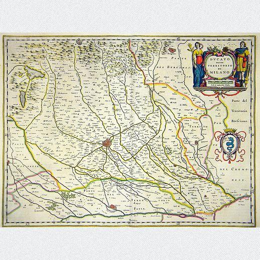 """Originale altkolorierte Kupferstichkarte mit der Region um Mailand von Willem und Joan Blaeu: """"Ducato ouero Territorio di Milano."""". Mit außerordentlichem Detailreichtum ist die Region illustriert, zudem geschmückt mit einer schönen Titelkartusche, aus dem Werk """"Toonneel des Aerdryckx..."""", Amsterdam, 1658. ABMESSUNGEN: ca. B 62,6 cm x H 54,3 cm"""
