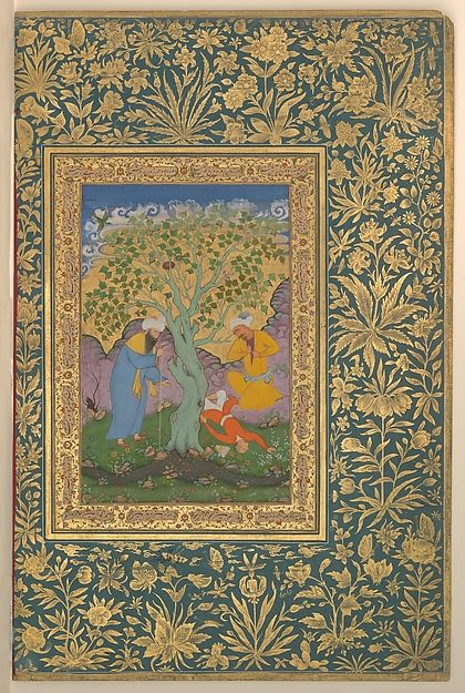 """A Youth Fallen From a Tree"", Folio from the Shah Jahan Album    Artist:Painting by Aqa Riza (Iranian, born Meshhed, ca. 1560, active until ca. 1621)  Calligrapher:Mir 'Ali Haravi (d. ca. 1550)  Object Name:Album leaf  Date:verso: ca. 1610; recto: ca. 1530"
