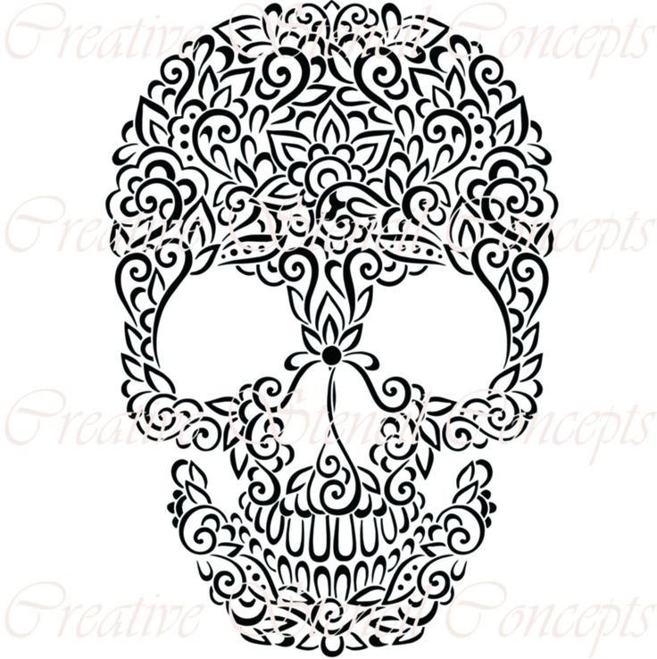 Floral Mexican Halloween Sugar Skull Decorative Stencil MULTIPLE SIZES AVAILABLE on Industry Standard 12 Mil Mylar Design 140132122 by CreativeStencils on Etsy https://www.etsy.com/listing/204748513/floral-mexican-halloween-sugar-skull