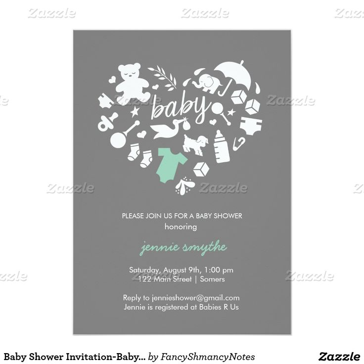 baby shower bbq invitation templates%0A Baby Shower InvitationBaby Icon HeartMint Grey  x  Paper Invitation Card