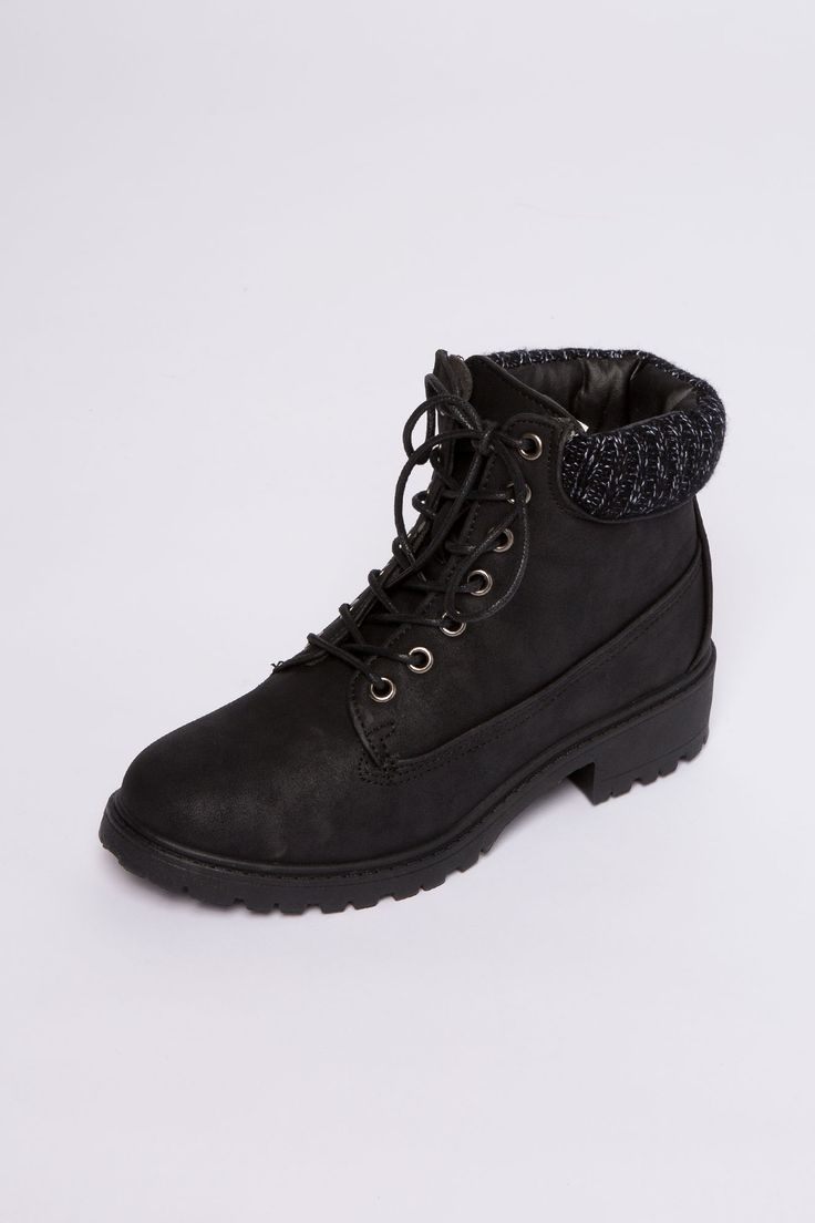 Suede Work Boot with Knit Cuff