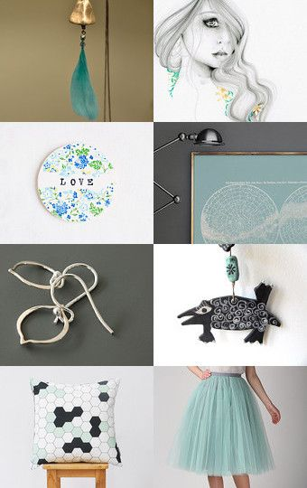 124 - Turquoise and Mint Green by Ilona on Etsy--Pinned+with+TreasuryPin.com