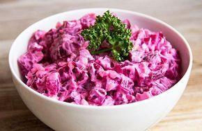 Salată mediteraneană de SFECLĂ roșie cu IAURT și USTUROI | La Taifas