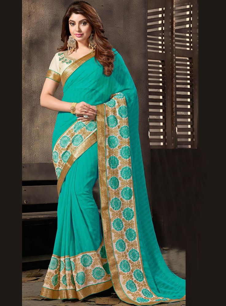 Turquoise Chiffon Saree With Blouse 89075