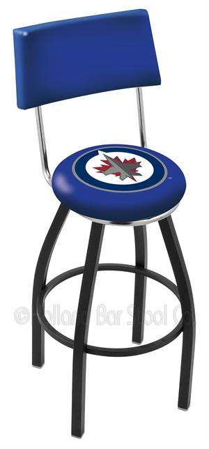 Winnipeg Jets the NHL newest team is fast becoming a favourite team with fans.  Here is a backed bar stool perfect for any fan