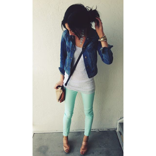 Mint green jeans white tank denim jacket