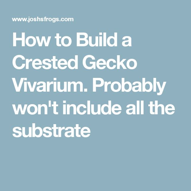 How to Build a Crested Gecko Vivarium. Probably won't include all the substrate