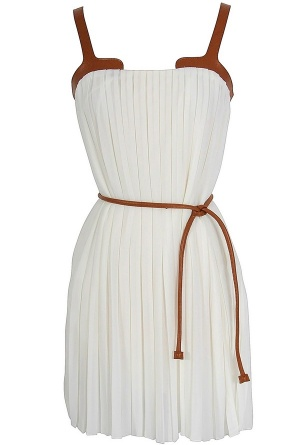 Leatherette Trim Pleated Chiffon Dress in White