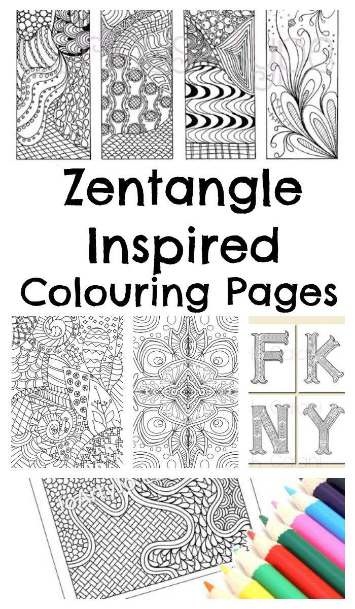 Free coloring in sheets - Zentangle Colouring Pages