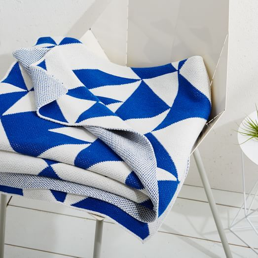 Geometric Throw Blanket in blue & cream - made from recycled cotton. Happy Habitat for West Elm