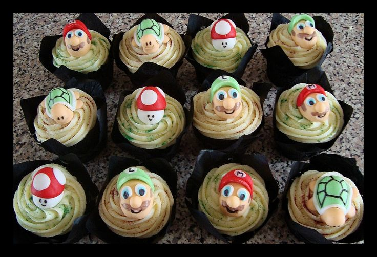 Decorated Mario Bros cupcakes