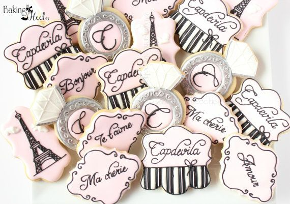 2 Dozen Paris Decorated Cookies, Custom Cookies, Parisian Cookies, Wedding Cookies, Bridal Shower Gifts, Bride-to-be cookies