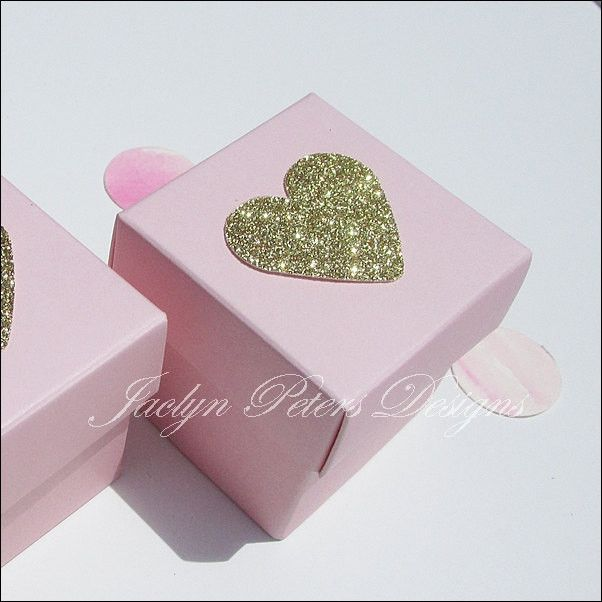 #PinkandGold Glitter #Heart Two Piece Favor #Boxes