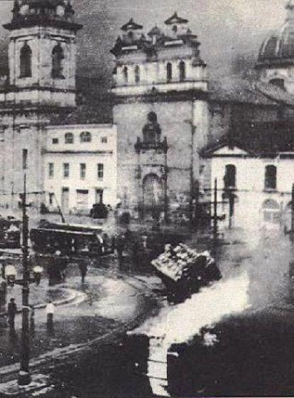 El Bogotazo. Massive riots in Bogotá, Colombia, on 9 April, 1948. The 10 hour riot left 3000 to 5000 dead.