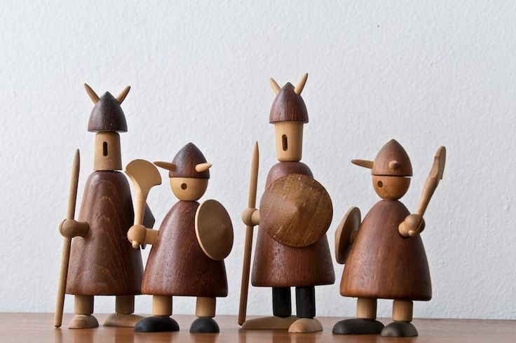 JACOB JENSEN, Denmark, c.1958. Danish designer Jacob Jensen's earliest pieces and that according to his website they were part of a line he did for International Gift Corporation in 1958. Interesting Hand Turned Wood Viking Figures. Ebony, Birch, Maple, and Teak pieces. Vintage Toys, Interchangeable and Modular.