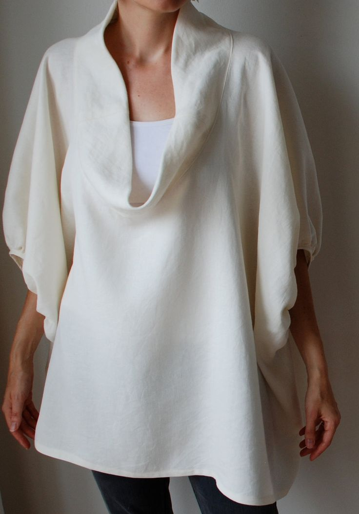 Cream winter white linen smock frock / top. Plus size and maternity, scoop neck, sleeves. One size fits all.. $180.00, via Etsy.