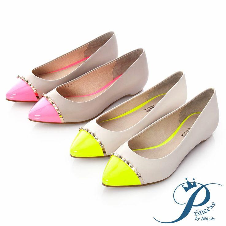 Princess-鉚釘撞色尖頭內增高鞋-蜜桃粉 - Yahoo!奇摩購物中心