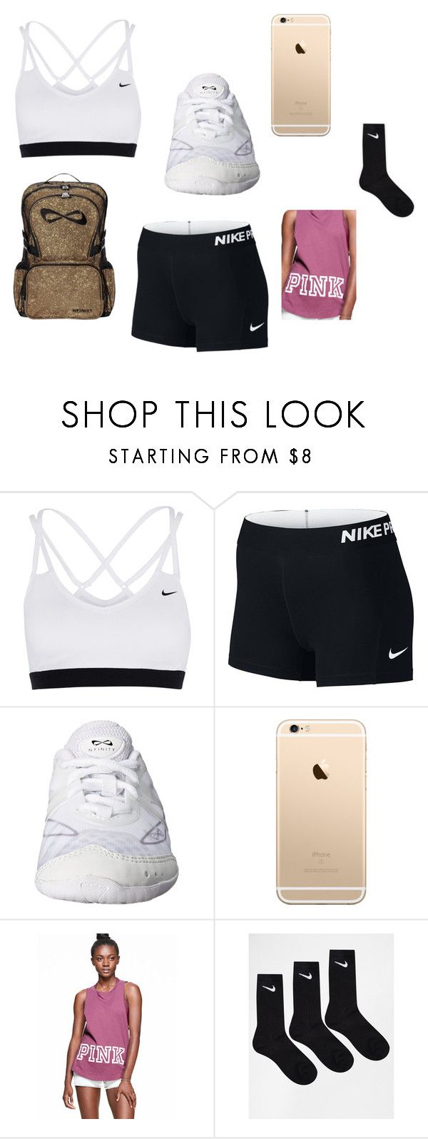 """""""Cheer Outfit"""" by mariette-1231 ❤ liked on Polyvore featuring NIKE"""