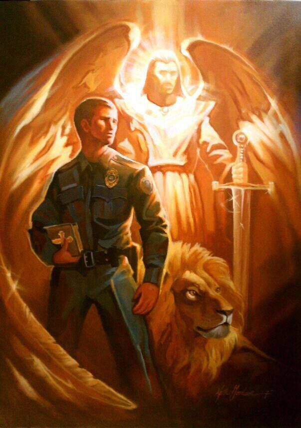 Painted by Keith Goodson for Law Enforcement Today. St Michael the Archangel. May God protect you and the blessings of the angels guide and guard you. <3
