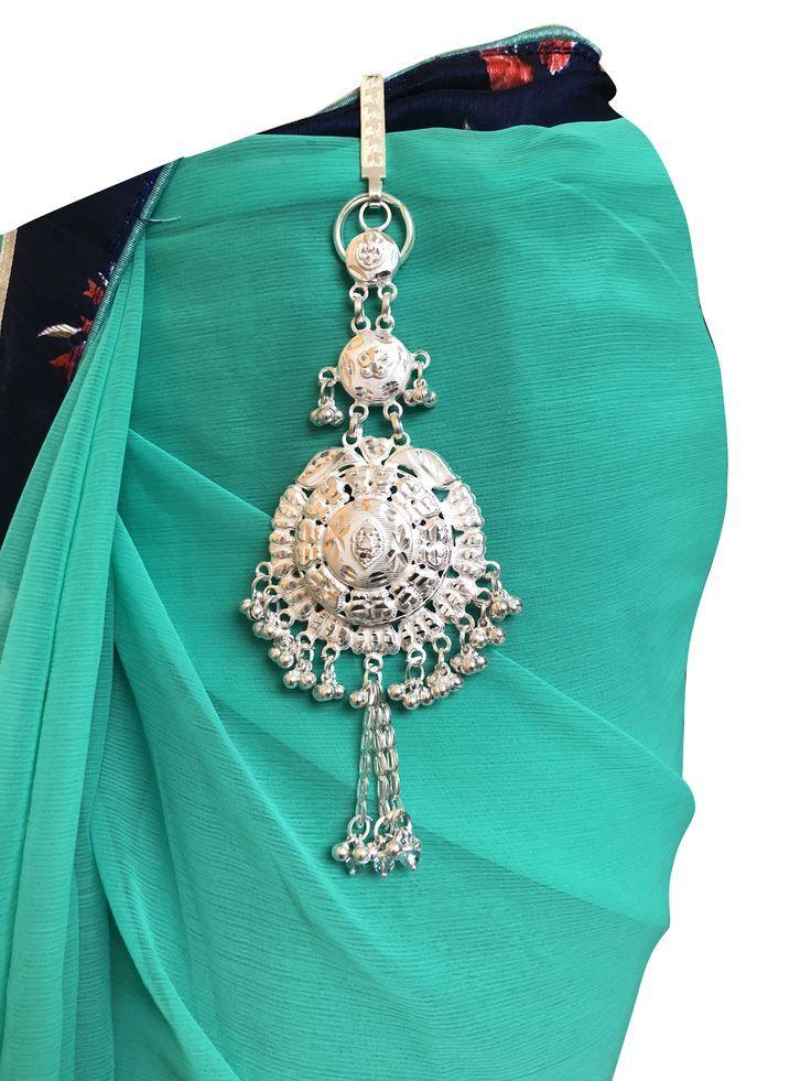 Pure Silver Kamarband Waist Keyring Saree Belly Chain Chabi Challa