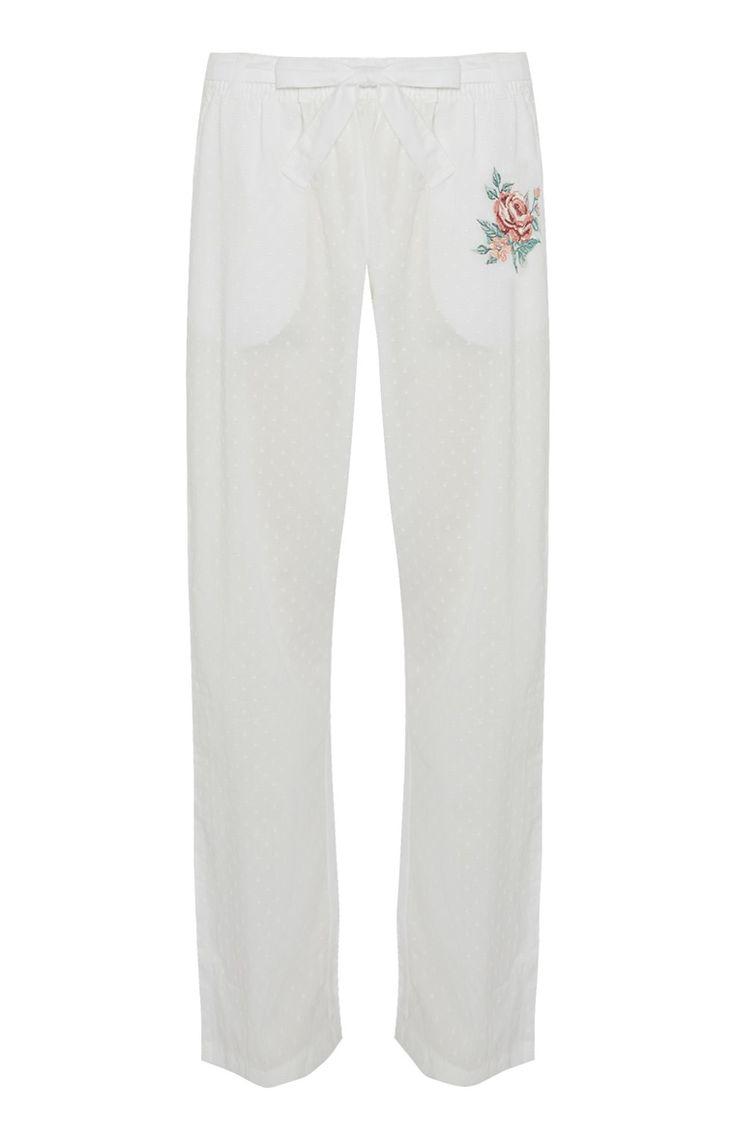 Witte broek met borduursel