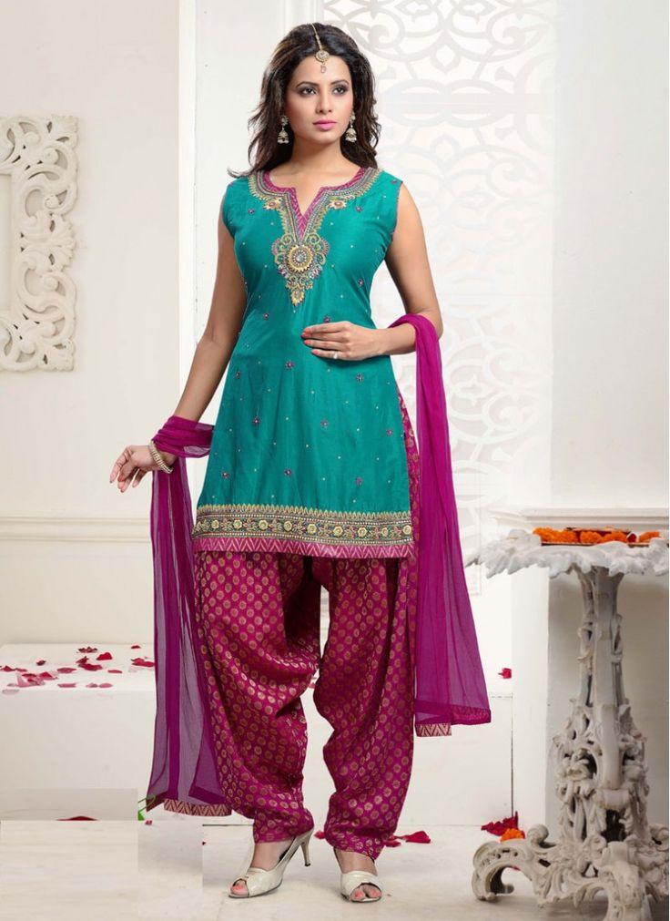Incredible Lace Silk Hot Pink and Sea Green Patiala Salwar Kameez                                                                                                                                                                                 More